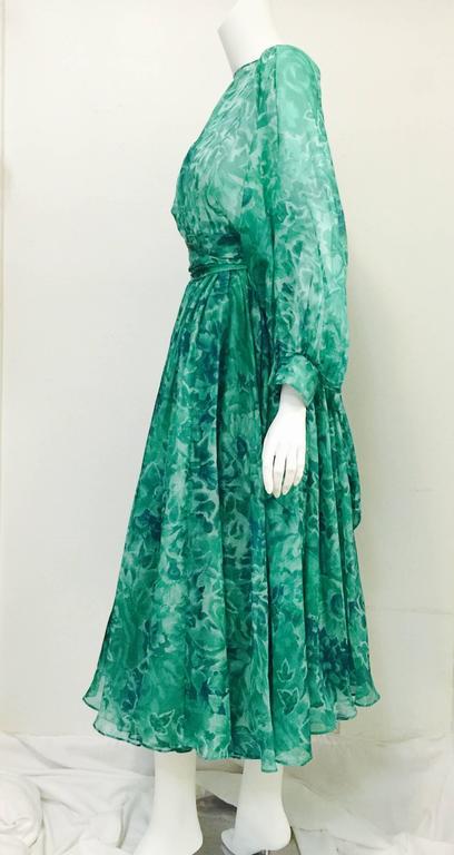 Blue Custom Nina Ricci Paris Green Floral All Silk Day Dress  For Sale