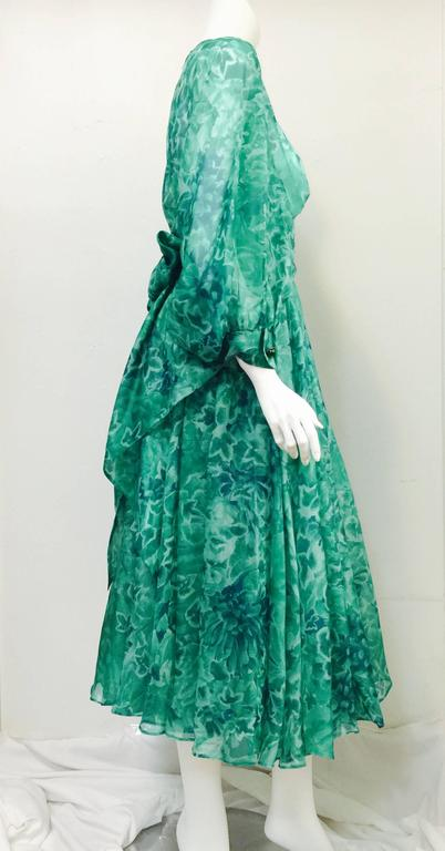 Custom Nina Ricci Day Dress is an ode to couture design and exalted craftsmanship!  Fit for Her Serene Highness, Princess Grace of Monaco, dress features yards and yards of ultra-luxurious green floral silk. Feminine pintucks, fitted bateau