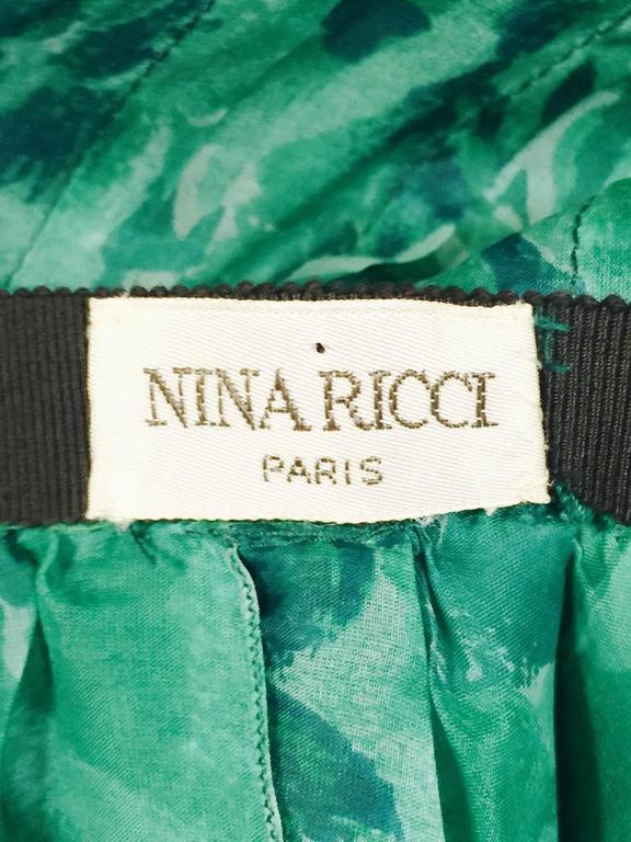 Custom Nina Ricci Paris Green Floral All Silk Day Dress  For Sale 2