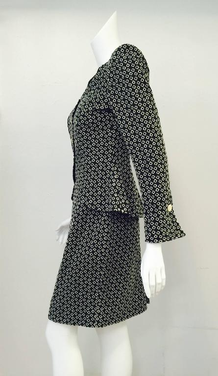 Women's Emanuel Ungaro Parallele Black and White Diamond Eyelet Skirt Suit For Sale