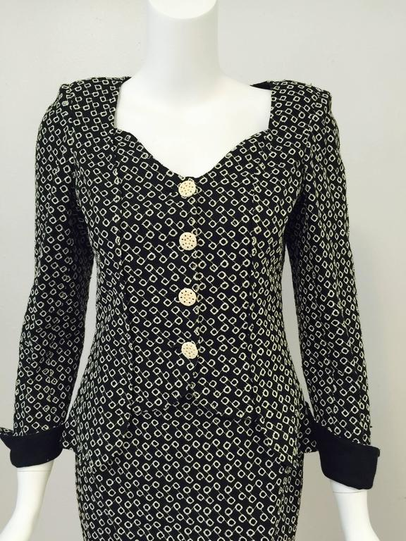 Emanuel Ungaro Parallele Black and White Diamond Eyelet Skirt Suit For Sale 1