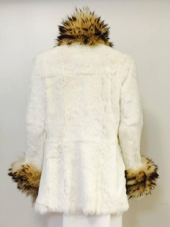 Luxurious Fox Trimmed Reversible Ivory Leather and Rabbit Long Jacket  In Excellent Condition For Sale In Palm Beach, FL