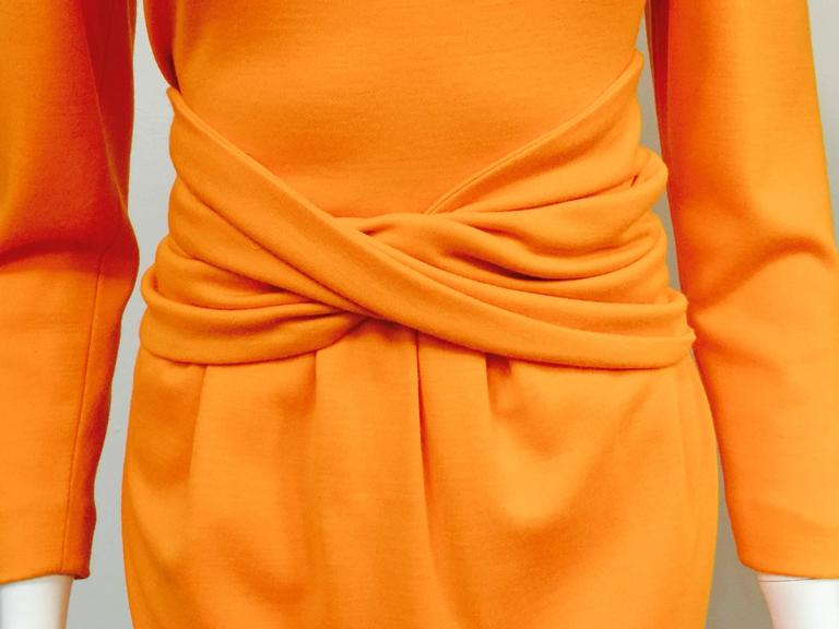 1980s Lanvin Paris Mandarin Orange Wool Long Sleeve Day Dress  5