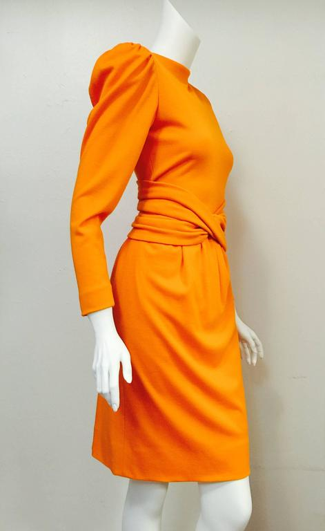 1980s Lanvin Paris Mandarin Orange Wool Long Sleeve Day Dress  2