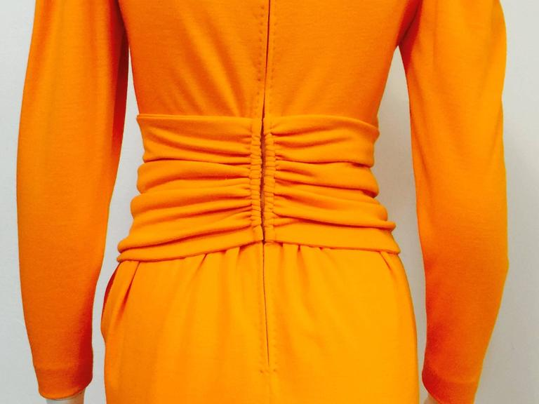 1980s Lanvin Paris Mandarin Orange Wool Long Sleeve Day Dress  4