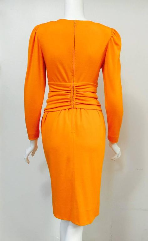 1980s Lanvin Paris Mandarin Orange Wool Long Sleeve Day Dress  3