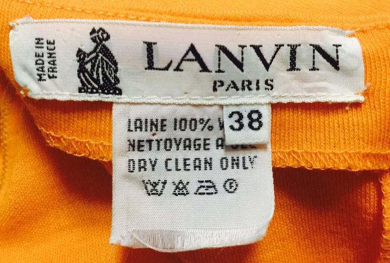 1980s Lanvin Paris Mandarin Orange Wool Long Sleeve Day Dress  6