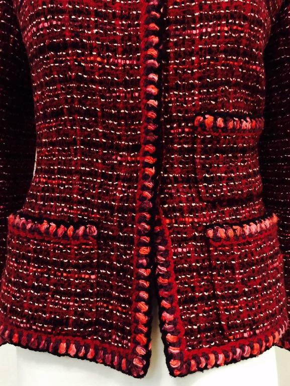 Chanel Fall Cranberry Tweed Jacket  5