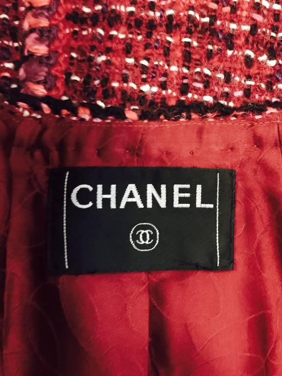 Chanel Fall Cranberry Tweed Jacket  7
