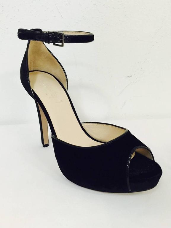 New MaxMara Black Velvet High Heel Peep Toe Shoes With Ankle ...