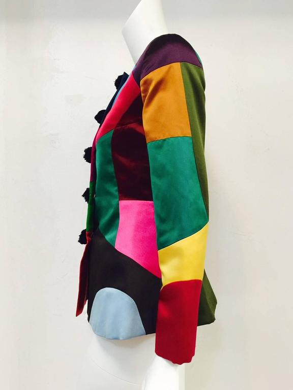 Vintage Oscar de la Renta Fitted Multi Color Harlequin Satin Jacket 4