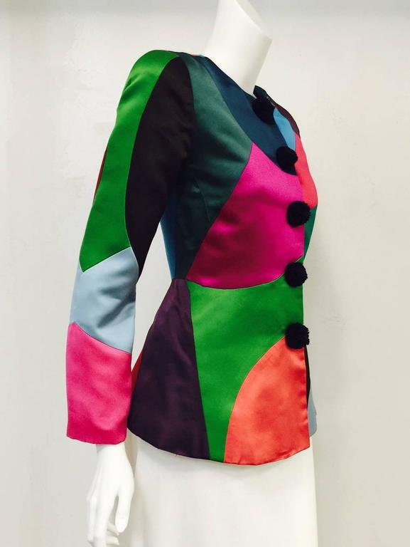 Vintage Oscar de la Renta Fitted Multi Color Harlequin Satin Jacket 2