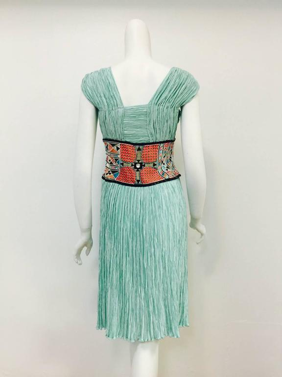 Mary McFadden Couture Embroidered Mint Marii Pleated Dress  3
