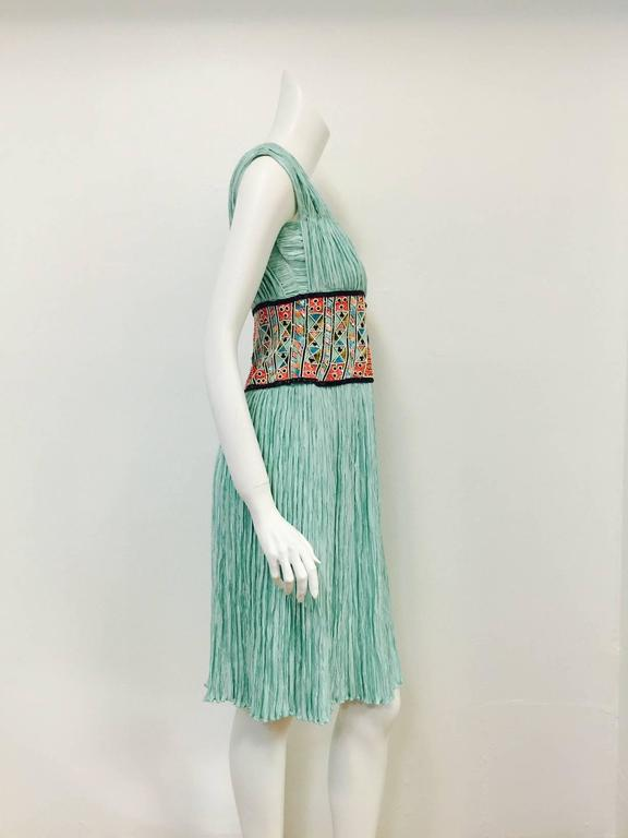 Mary McFadden Couture Embroidered Mint Marii Pleated Dress  5