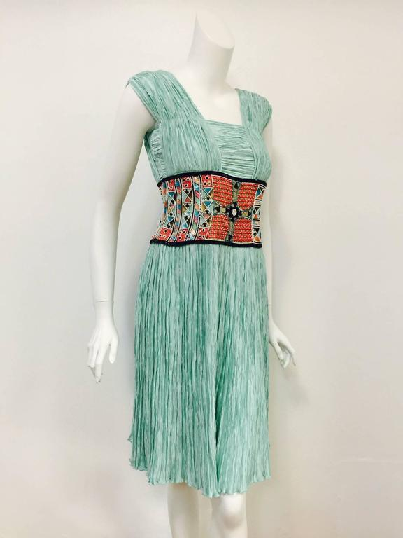 Mary McFadden Couture Embroidered Mint Marii Pleated Dress  4