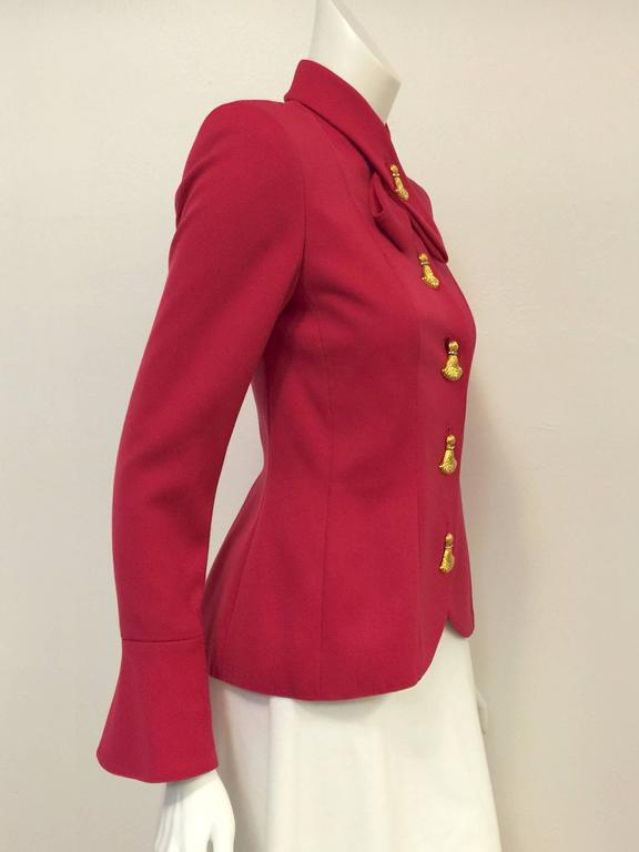 """This Fuschia Wool Jacket With Gold Tone Tassel Butttons is """"Very Valentino""""!  Only """"Le Chic"""" could design this ultra-feminine and sophisticated jacket in a most fabulous shade of fuschia.  Features cut-away front, slightly padded shoulders, and"""