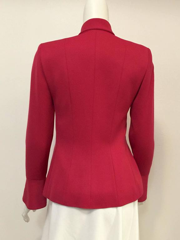 Valentino Fuschia Fitted Wool Jacket With Gold Tone Tassel Butttons 3