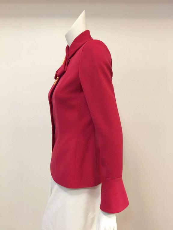 Valentino Fuschia Fitted Wool Jacket With Gold Tone Tassel Butttons In Excellent Condition For Sale In Palm Beach, FL