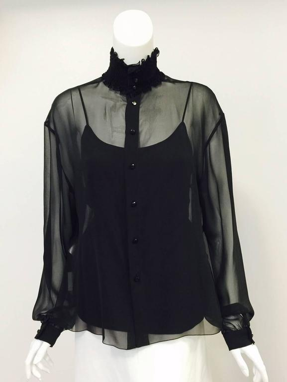 New Chanel Spring 2001 Black Sheer Silk Blouse With Knit Spaghetti Strap Tank  3