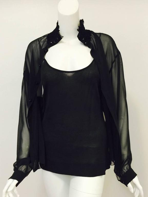 New Chanel Spring 2001 Black Sheer Silk Blouse With Knit Spaghetti Strap Tank  7