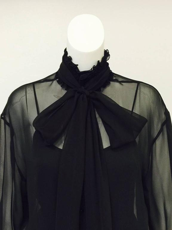 New Chanel Spring 2001 Black Sheer Silk Blouse With Knit Spaghetti Strap Tank  5