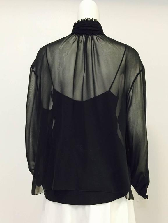 New Chanel Spring 2001 Black Sheer Silk Blouse With Knit Spaghetti Strap Tank  6
