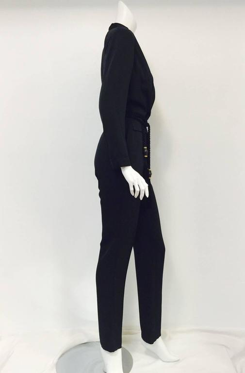 Gucci Black Silk Tuxedo Jumpsuit With Rope Belt and Bamboo Tassels 2