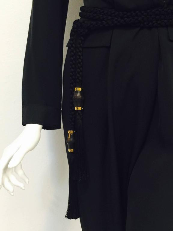 Gucci Black Silk Tuxedo Jumpsuit With Rope Belt and Bamboo Tassels 6