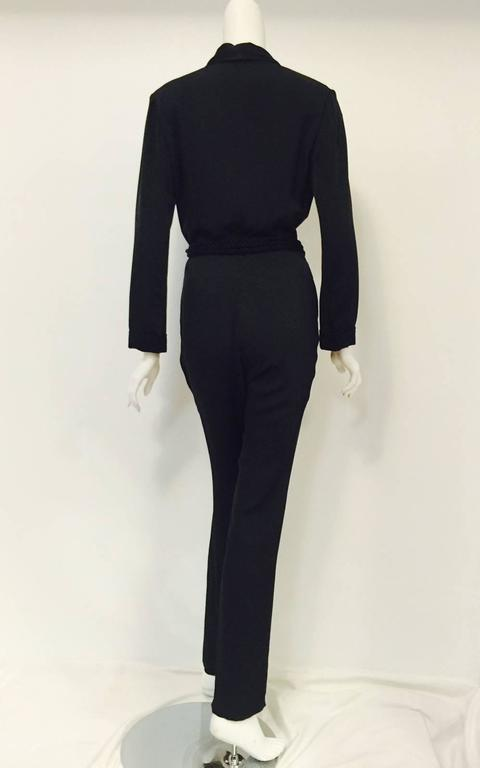 Gucci Black Silk Tuxedo Jumpsuit With Rope Belt and Bamboo Tassels 3