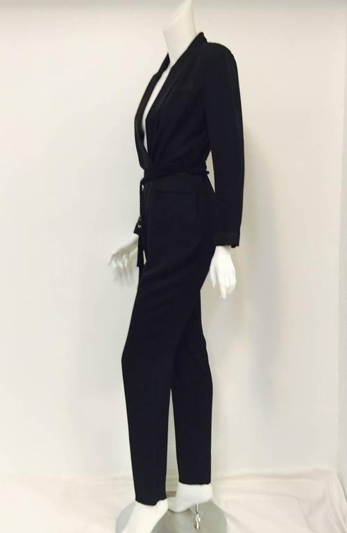 Gucci Black Silk Tuxedo Jumpsuit With Rope Belt and Bamboo Tassels 4