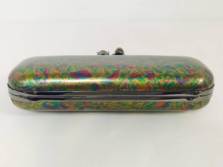 Alexander Mcqueen Oil Slick Knuckle Duster Box Clutch In New Condition For Sale In Palm Beach, FL