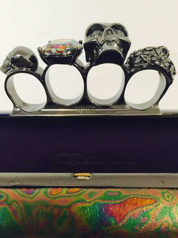 Women's  Alexander Mcqueen Oil Slick Knuckle Duster Box Clutch For Sale