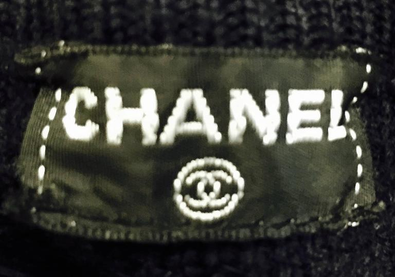 Chanel Navy Blue Wool Varsity Pullover Sweater Dress With Ivory Logo Patch 7