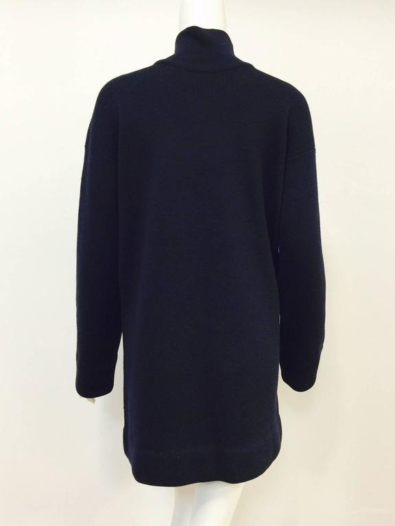 Chanel Navy Blue Wool Varsity Pullover Sweater Dress With Ivory Logo Patch For Sale 2