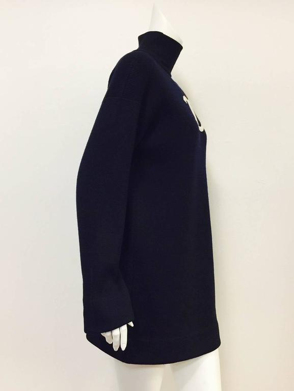 Chanel Navy Blue Wool Varsity Pullover Sweater Dress With Ivory Logo Patch For Sale 1
