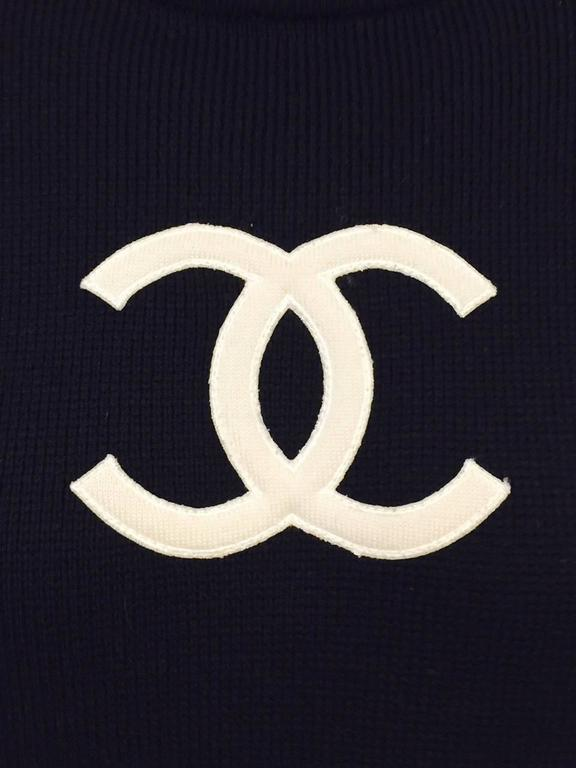 Chanel Navy Blue Wool Varsity Pullover Sweater Dress With Ivory Logo Patch 3