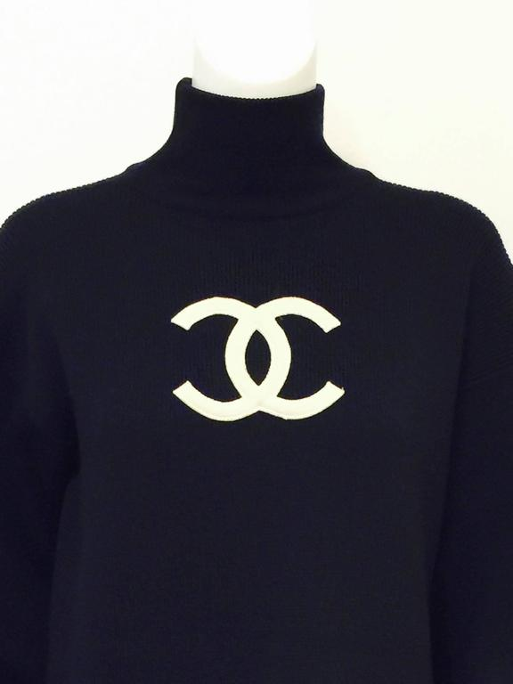 Chanel Navy Blue Wool Varsity Pullover Sweater Dress With Ivory Logo Patch 2