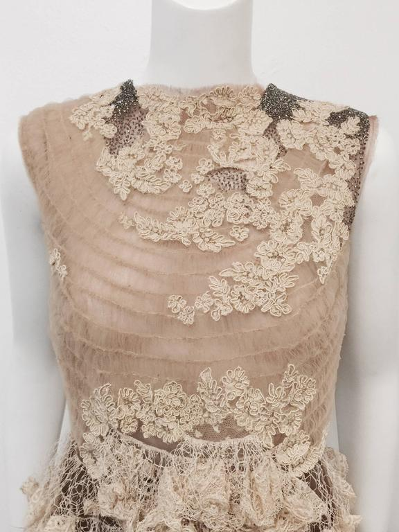 Valentino Mocha Latte Lace Sleeveless  Cocktail Dress  In Excellent Condition For Sale In Palm Beach, FL