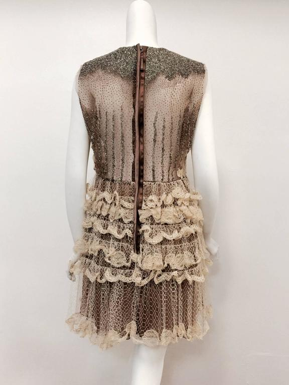 Brown Valentino Mocha Latte Lace Sleeveless  Cocktail Dress  For Sale