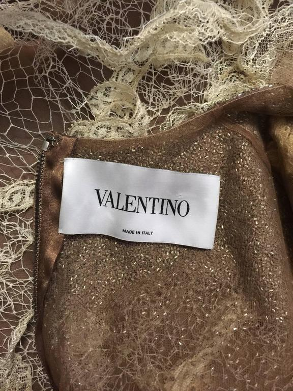 Women's Valentino Mocha Latte Lace Sleeveless  Cocktail Dress  For Sale