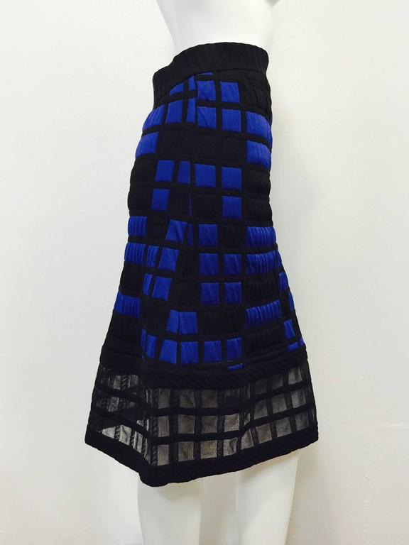 Women's Chanel Black and Royal Blue Colorblocked Quilted A-Line Skirt With Sheer Hem For Sale