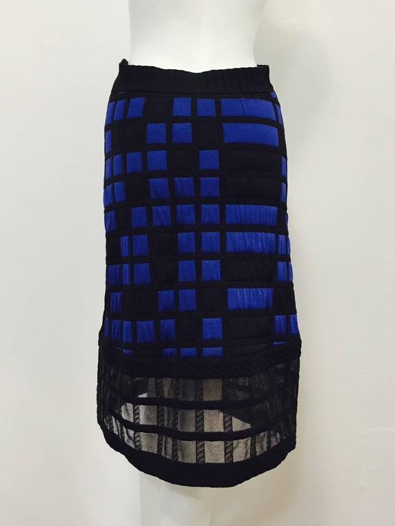 Chanel Black and Royal Blue Colorblocked Quilted A-Line Skirt With Sheer Hem In Excellent Condition For Sale In Palm Beach, FL