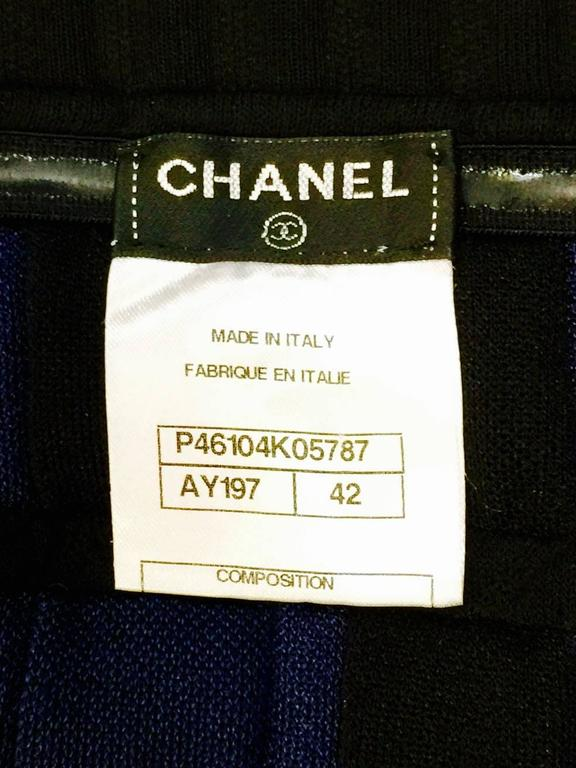 Chanel Black and Royal Blue Colorblocked Quilted A-Line Skirt With Sheer Hem For Sale 1