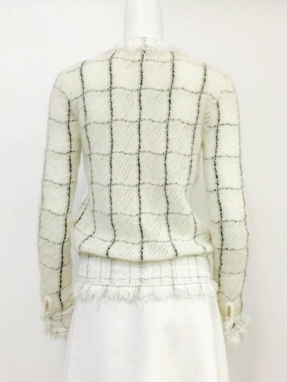 Women's Chanel Mohair Blend Window Pane Check Cardigan With Fringed Tweed Trim  For Sale