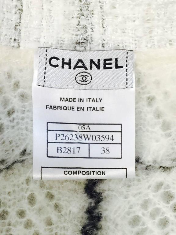 Chanel Mohair Blend Window Pane Check Cardigan With Fringed Tweed Trim  For Sale 3