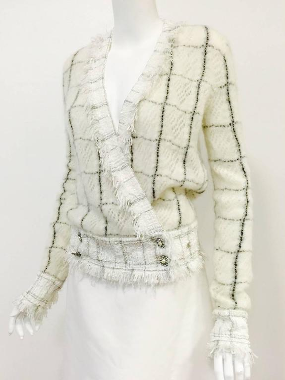 Beige Chanel Mohair Blend Window Pane Check Cardigan With Fringed Tweed Trim  For Sale