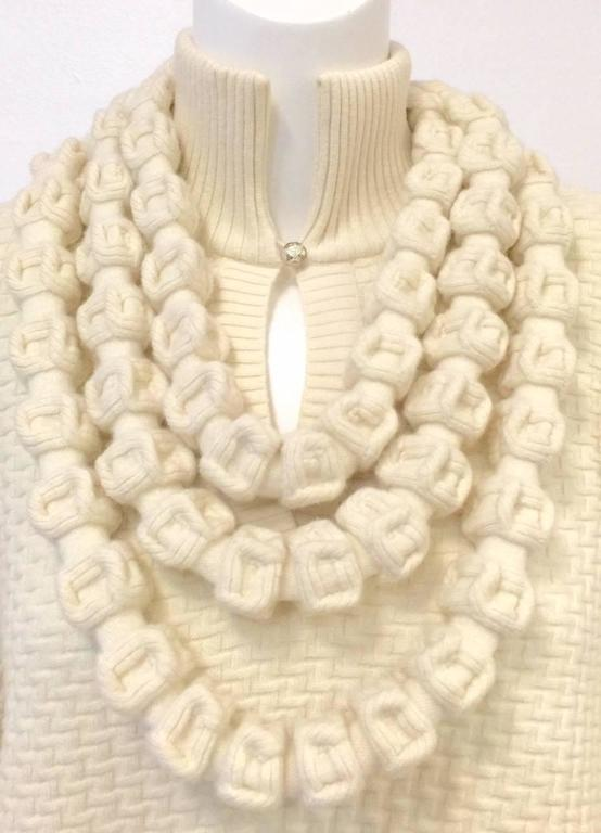Beige Chanel 100% Ivory Wool Pullover Sweater With Triple Strand Necklace For Sale