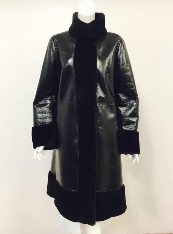 Tory Burch Black Shearling Coat With Pearlized Leather and Patent Trim  4