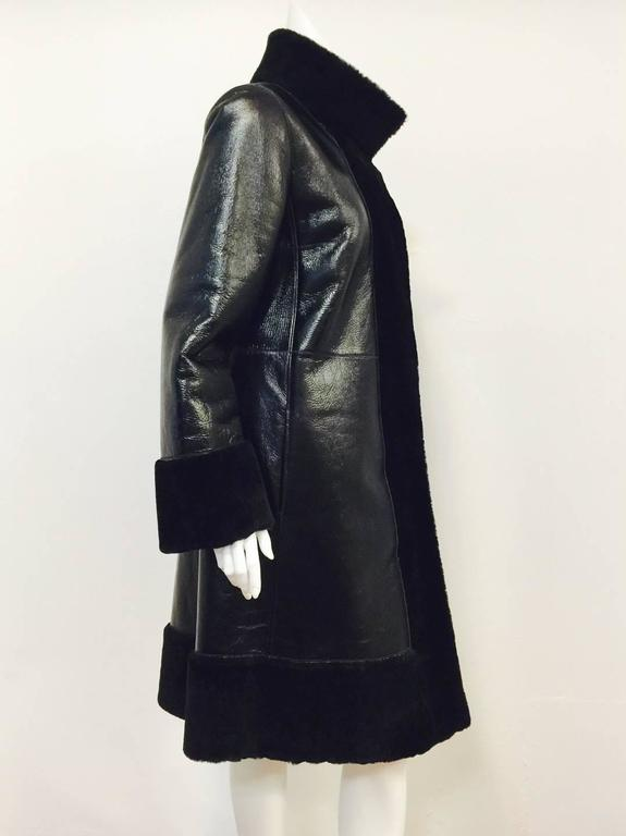 Tory Burch Black Shearling Coat With Pearlized Leather and Patent Trim  2