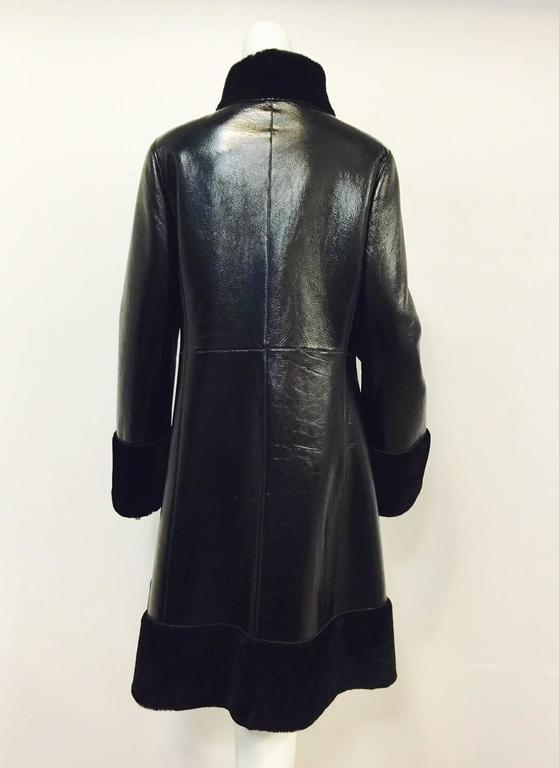 Tory Burch Black Shearling Coat With Pearlized Leather and Patent Trim  3